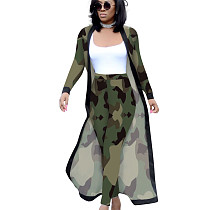 Camouflage Printed Female Sets Long Sleeves Jackets+Bodycon Leggings QQM3535