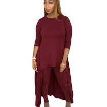 Wine red Round neck long skirt back pant set LY5115