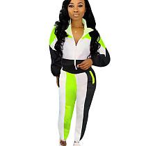 Black Side stripe long loose sleeve sport pant set SN3717