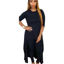 Black  Round neck long skirt back pant set LY5115