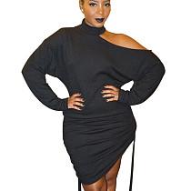 Black High Neck Bodycon mini dress wrinkled bottom one side opening shoulder HY5115