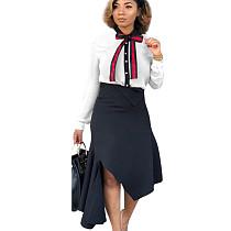 Cream White office lady Conjunto Blusa de Bowknot de manga larga y falda de apertura lateral MTY6233MTY6233