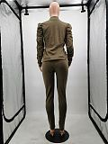 Green High Neck Wrinkled long Sleeve pant set & Pencil Pant MTY6231