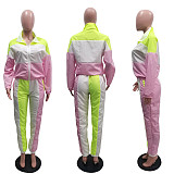 Mint Side stripe long loose sleeve sport pant set SN3717