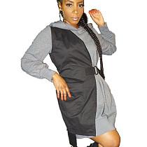 Gray&Black Hooded Long Sleeve Patchwork Shirt MN8077