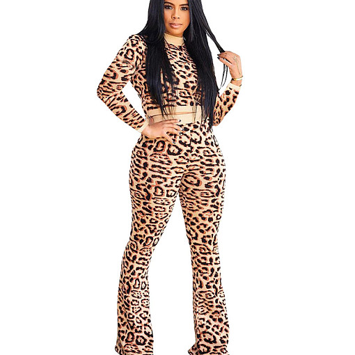 Leopard print round neck long sleeve pant set & loose leg HY5113