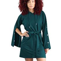 Robe à capuche à manches longues et style loisirs de rue verte OEP6073