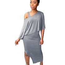 Gray Asymmetrical Fold Collarless Skirt & Bodycon Midi KF142