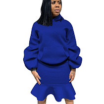 Blue Thicken Hoodie Ruffle Wrap Skirt Pure Color Suits For Daily Wear ALS146