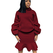 Wine Red Thicken Hoodie Ruffle Wrap Skirt Pure Color Suits For Daily Wear ALS146
