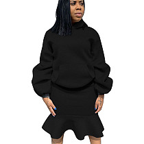 Black Thicken Hoodie Ruffle Wrap Skirt Pure Color Suits For Daily Wear ALS146