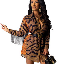 Printed Fringed Single-Breasted Shirt Dress For Mature Women SDD9201
