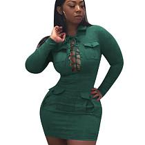 Blackish Green New Design Suede Velvet Solid Color Bandage Mini Dress OEP6070