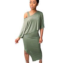 Mint Green Asymmetrical Fold Collarless Skirt & Bodycon Midi KF142