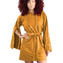 Yellow Street Style Leisure Buckle Sleeves Hoodie Tied Dress OEP6073