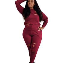 طقم بنطلون خدش للنساء من بوديكون أحمر مع أكمام طويلة OEP6076