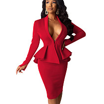 Red One Button Ruffle Top Bodycon Mid Skirt Plain Color Business Set QQM3892