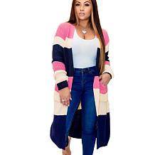 Pink Plaid Long Sleeves Cardigan Coat Below Knee Outer wear MA6286