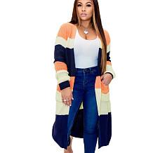 Orange Plaid Long Sleeves Cardigan Coat Below Knee Outer wear MA6286MA6286