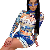 Femmes matures impression multicolore col rond robe moulante QZ3295