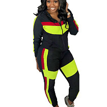Fluorescent Green Newest Colors Splicing Tracksuits Hooded Coat Tight Pants KK8175