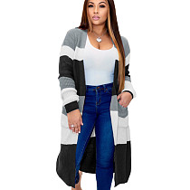 Gray Plaid Long Sleeves Cardigan Coat Below Knee Outer wear MA6286