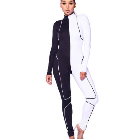 Black & White Modern Long Sleeve bodycon Jupmsuit AL066