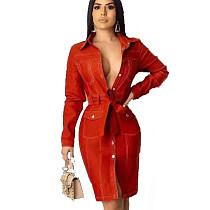 Rode elegante doorknoop slanke casual rode jurk met riem HHM6166