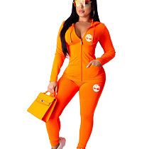 Orange Hooded Pant Set with zipper top Pencil BottomYX9176