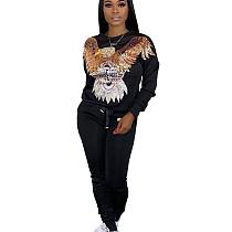 Black Egal Pattern Print Long Sleeve Pant Suit HHM6179
