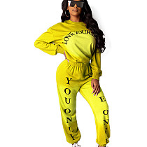Yellow Solid Color Dye Round Neck Long Sleeve Sport Pant Suit HHM6173