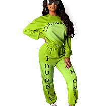 Green Solid Color Dye Round Neck Long Sleeve Sport Pant Suit HHM6173