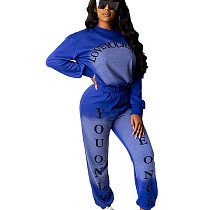Blue Solid Color Dye Round Neck Long Sleeve Sport Pant Suit HHM6173