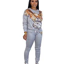 Gray Egal Pattern Print Long Sleeve Pant Suit HHM6179