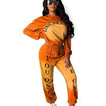 Orange Solid Color Dye Round Neck Long Sleeve Sport Pant Suit HHM6173
