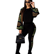 Camouflage Green Round Neck Long Loose Sleeve Pant Set with Pencil Pant KA7065