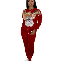REd Egal Pattern Print Long Sleeve Pant Suit HHM6179