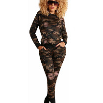 Green Camouflage Round Neck Long Sleeve Bodycon Pant Set HH8898