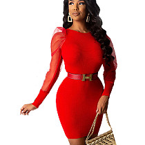 赤の女性のエレガントなボディコンメッシュスリーブパッチワークラップドレスHHM6176
