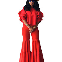 Red Leisure Comfy Plain Color Sets 3 Layers Sleeve Top Flares Pants LS6326