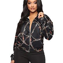 Euramerican Zipper Winter Chain Printed Long Sleeve Women Jacket BBN037