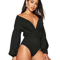 Black Ladies Hot Sale 3 Colors Slim Fitting V Collar Bodysuit D019
