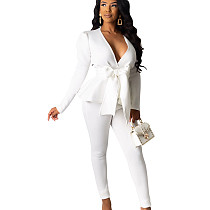 White Office Ladies Hot Sets Ruffle V Neck Tied Top Solid Color Pencil Pants SDD9203