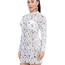 New Style Flower Sequin Long Sleeved Transparent Mesh Pencil Dress Q392