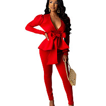 Red Office Ladies Hot Sets Ruffle V Neck Tied Top Solid Color Pencil Pants SDD9203
