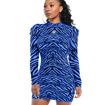 Синее модное облегающее платье с круглым воротом и нерегулярными полосками WY6617