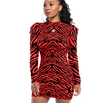 Red Fashionable Bodycon Round Collar Irregular Striped Wrap Dress WY6617
