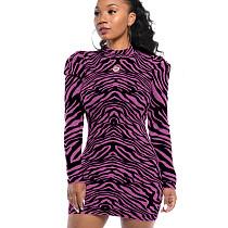 Фиолетовое модное облегающее платье с круглым воротом и нерегулярными полосками WY6617