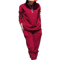 Bourgondische sport effen kleur comfortabele sets Eenvoudige T-shirt skinny broek TRS991