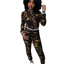 Hot Sell Ladies Exercise 2 Pieces Slim Fitting Camouflage Outfits C2043